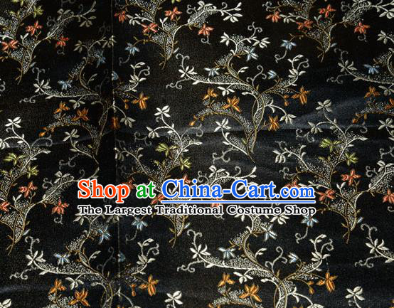 Chinese Traditional Silk Fabric Poplar Blossom Pattern Tang Suit Black Brocade Cloth Cheongsam Material Drapery