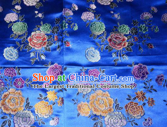 Chinese Traditional Silk Fabric Tang Suit Blue Brocade Cheongsam Classical Peony Pattern Cloth Material Drapery