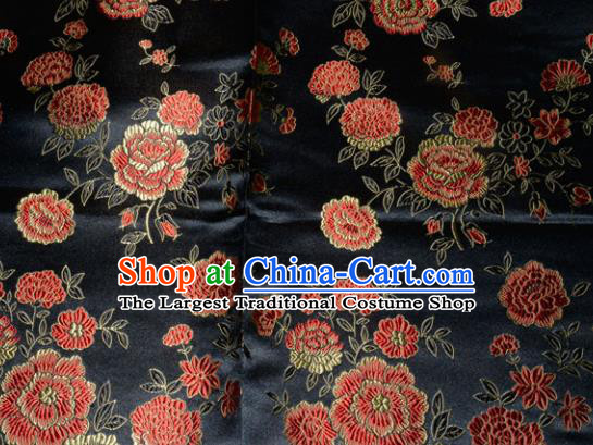 Chinese Traditional Silk Fabric Tang Suit Black Brocade Cheongsam Classical Peony Pattern Cloth Material Drapery