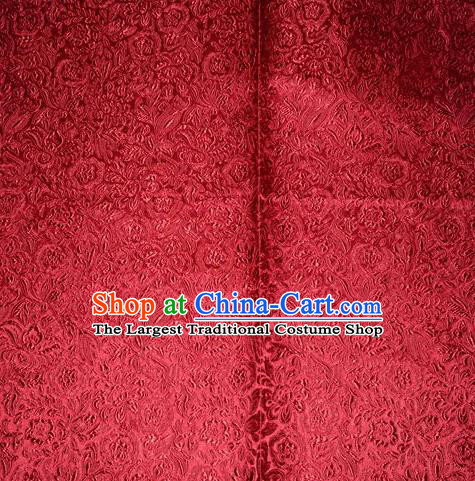 Chinese Traditional Cheongsam Wine Red Silk Fabric Tang Suit Brocade Classical Pattern Cloth Material Drapery