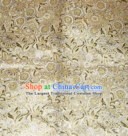 Chinese Traditional Cheongsam Golden Silk Fabric Tang Suit Brocade Classical Pattern Cloth Material Drapery