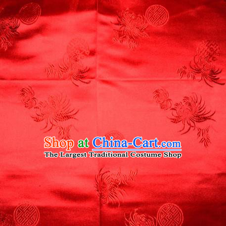 Chinese Traditional Cheongsam Silk Fabric Tang Suit Red Brocade Classical Chrysanthemum Pattern Cloth Material Drapery