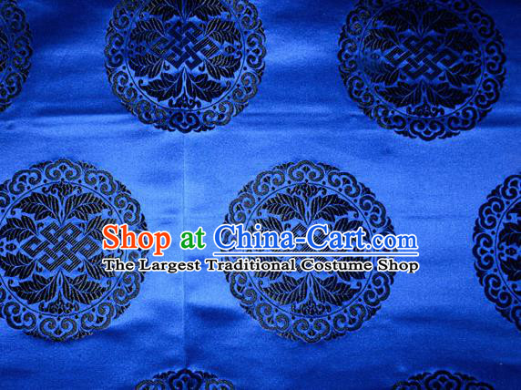 Chinese Traditional Cheongsam Silk Fabric Tang Suit Royalblue Brocade Classical Round Pattern Cloth Material Drapery