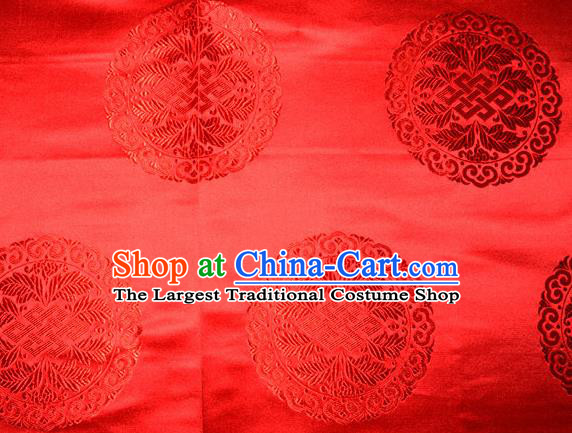 Chinese Traditional Cheongsam Silk Fabric Tang Suit Red Brocade Classical Round Pattern Cloth Material Drapery