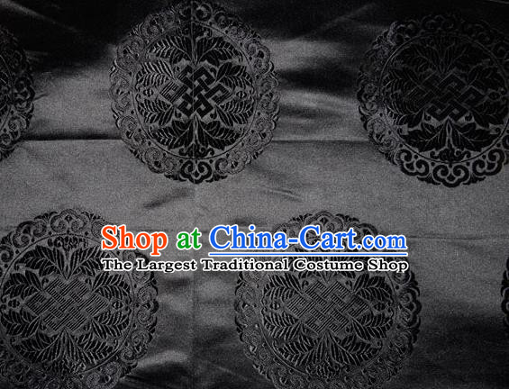 Chinese Traditional Cheongsam Silk Fabric Tang Suit Black Brocade Classical Round Pattern Cloth Material Drapery