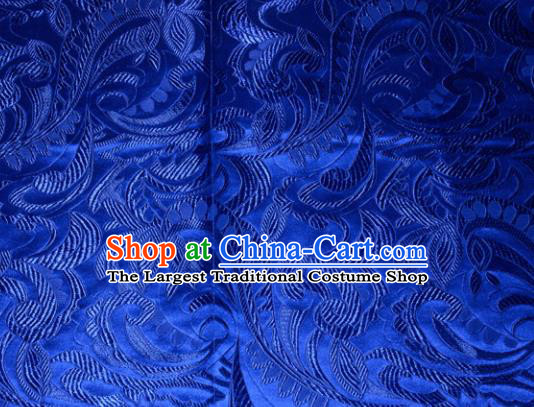 Chinese Traditional Cheongsam Silk Fabric Tang Suit Royalblue Brocade Classical Cockscomb Pattern Cloth Material Drapery