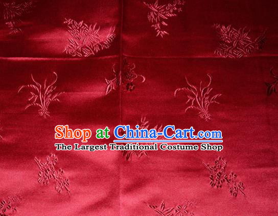 Chinese Traditional Cheongsam Red Silk Fabric Tang Suit Brocade Classical Plum Blossom Orchid Bamboo Chrysanthemum Pattern Cloth Material Drapery