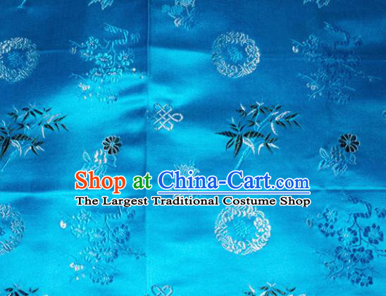 Chinese Traditional Cheongsam Blue Silk Fabric Tang Suit Brocade Classical Plum Blossom Orchid Bamboo Chrysanthemum Pattern Cloth Material Drapery