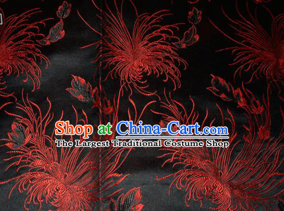 Chinese Traditional Cheongsam Silk Fabric Tang Suit Black Brocade Classical Chrysanthemum Pattern Cloth Material Drapery