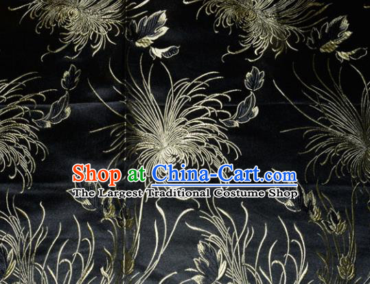 Chinese Traditional Cheongsam Black Silk Fabric Tang Suit Brocade Classical Chrysanthemum Pattern Cloth Material Drapery