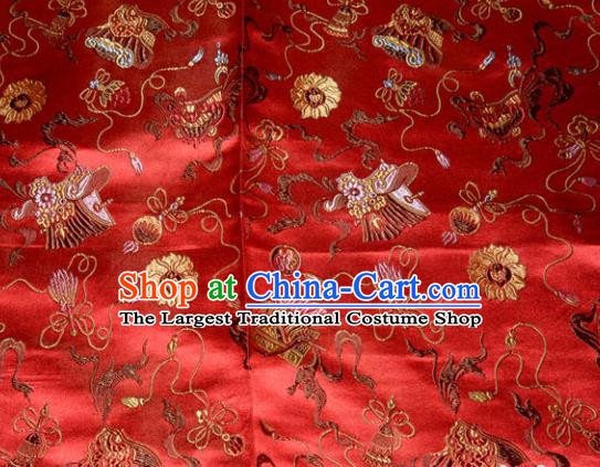 Chinese Traditional Classical Pattern Red Silk Fabric Tang Suit Brocade Cloth Cheongsam Material Drapery