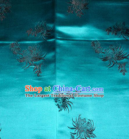 Chinese Traditional Classical Chrysanthemum Pattern Silk Fabric Tang Suit Blue Brocade Cloth Cheongsam Material Drapery