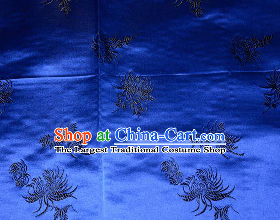 Chinese Traditional Classical Chrysanthemum Pattern Royalblue Silk Fabric Tang Suit Brocade Cloth Cheongsam Material Drapery