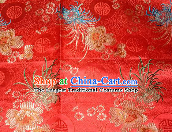 Chinese Traditional Silk Fabric Classical Chrysanthemum Pattern Tang Suit Red Brocade Cloth Cheongsam Material Drapery
