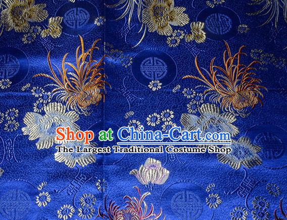 Chinese Traditional Silk Fabric Classical Chrysanthemum Pattern Tang Suit Royalblue Brocade Cloth Cheongsam Material Drapery