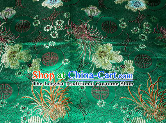 Chinese Traditional Silk Fabric Classical Chrysanthemum Pattern Tang Suit Green Brocade Cloth Cheongsam Material Drapery