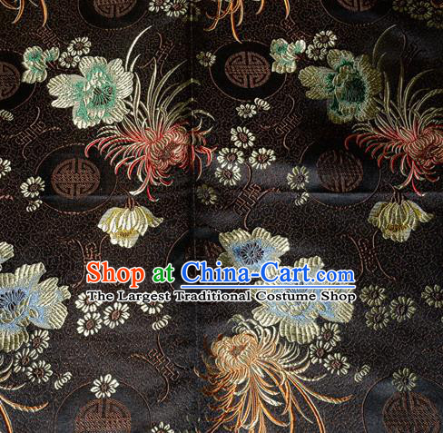 Chinese Traditional Silk Fabric Classical Chrysanthemum Pattern Tang Suit Black Brocade Cloth Cheongsam Material Drapery