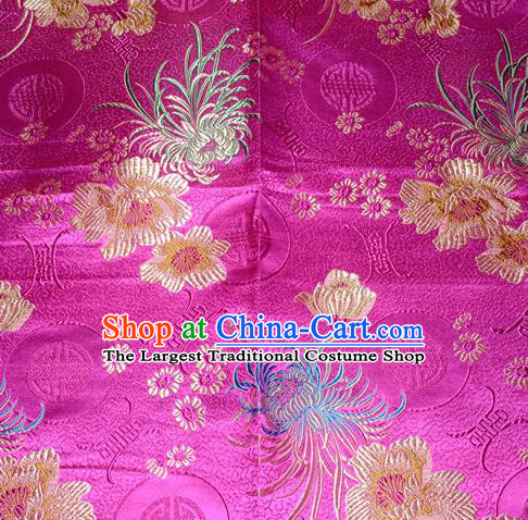 Chinese Traditional Silk Fabric Classical Chrysanthemum Pattern Tang Suit Rosy Brocade Cloth Cheongsam Material Drapery