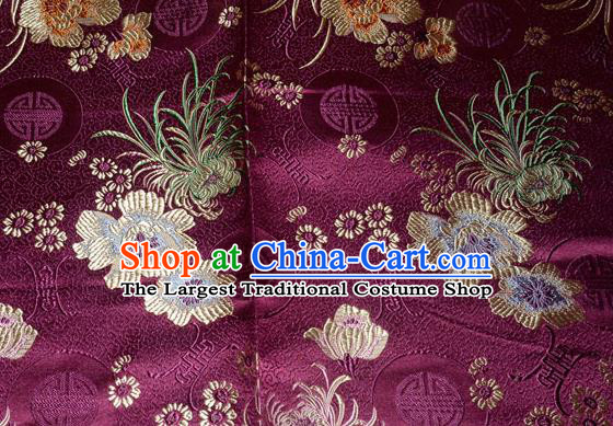 Chinese Traditional Silk Fabric Classical Chrysanthemum Pattern Tang Suit Purple Brocade Cloth Cheongsam Material Drapery