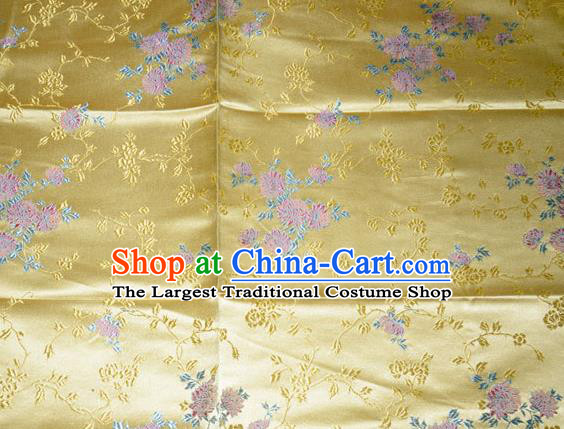 Classical Chrysanthemum Pattern Chinese Traditional Yellow Silk Fabric Tang Suit Brocade Cloth Cheongsam Material Drapery
