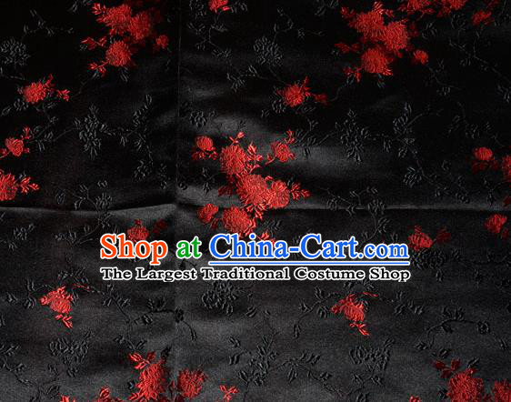 Classical Chrysanthemum Pattern Chinese Traditional Black Silk Fabric Tang Suit Brocade Cloth Cheongsam Material Drapery