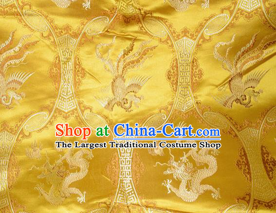 Classical Dragons Phoenix Pattern Chinese Traditional Golden Silk Fabric Tang Suit Brocade Cloth Cheongsam Material Drapery