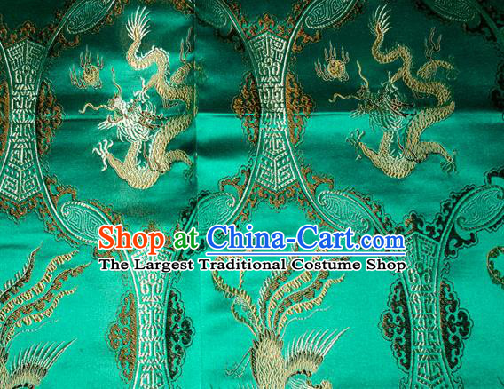 Classical Dragons Phoenix Pattern Chinese Traditional Green Silk Fabric Tang Suit Brocade Cloth Cheongsam Material Drapery