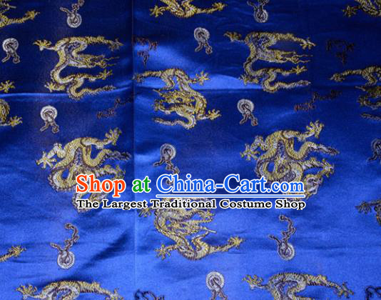 Wedding Classical Dragons Pattern Chinese Traditional Royalblue Silk Fabric Tang Suit Brocade Cloth Cheongsam Material Drapery