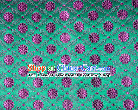 Classical Pattern Chinese Traditional Green Silk Fabric Tang Suit Brocade Cloth Cheongsam Material Drapery