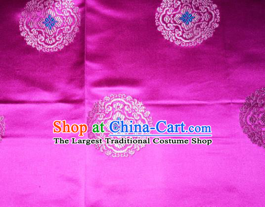 Classical Round Pattern Chinese Traditional Rosy Silk Fabric Tang Suit Brocade Cloth Cheongsam Material Drapery