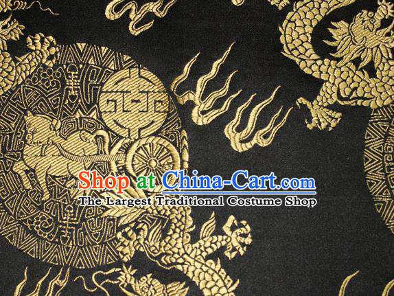 Chinese Traditional Silk Fabric Dragons Pattern Tang Suit Black Brocade Cloth Cheongsam Material Drapery