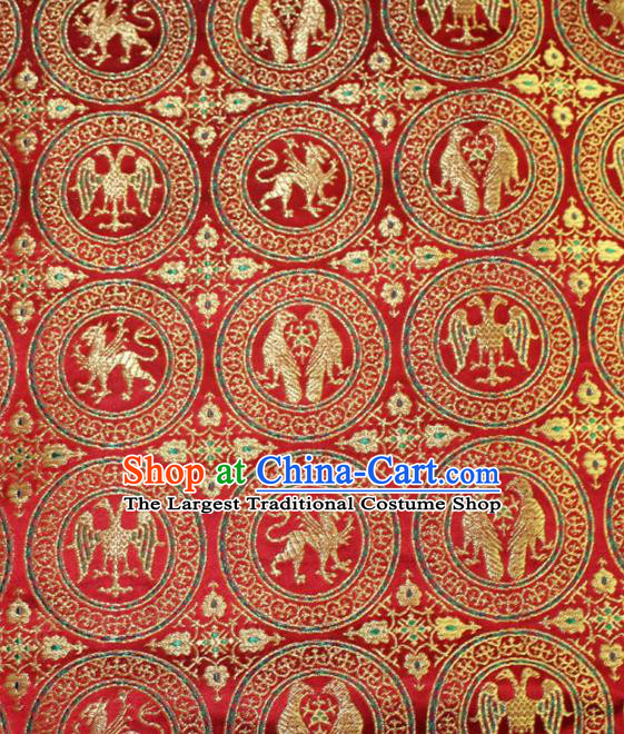 Chinese Traditional Silk Fabric Egypt Pattern Tang Suit Red Brocade Cloth Cheongsam Material Drapery
