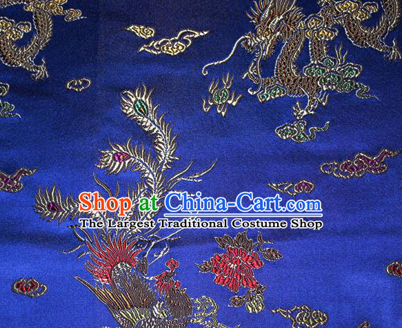 Chinese Traditional Silk Fabric Dragon Phoenix Peony Pattern Tang Suit Royalblue Brocade Cloth Cheongsam Material Drapery