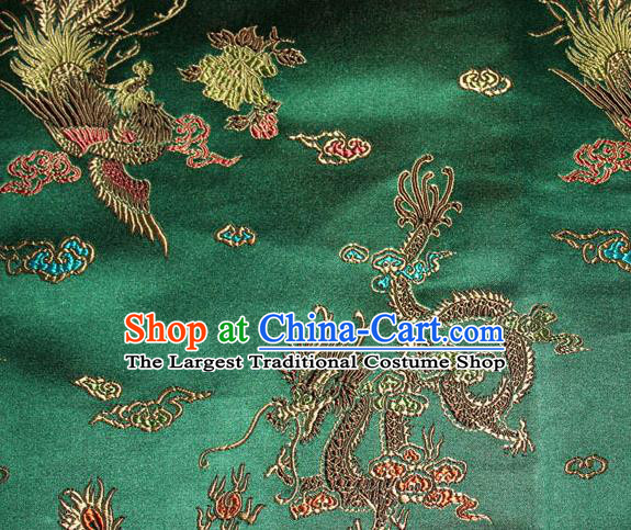 Chinese Traditional Green Silk Fabric Dragon Phoenix Peony Pattern Tang Suit Brocade Cloth Cheongsam Material Drapery