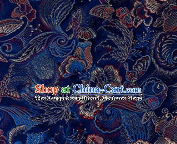 Chinese Traditional Fabric Navy Silk Fabric Tang Suit Brocade Cloth Cheongsam Material Drapery