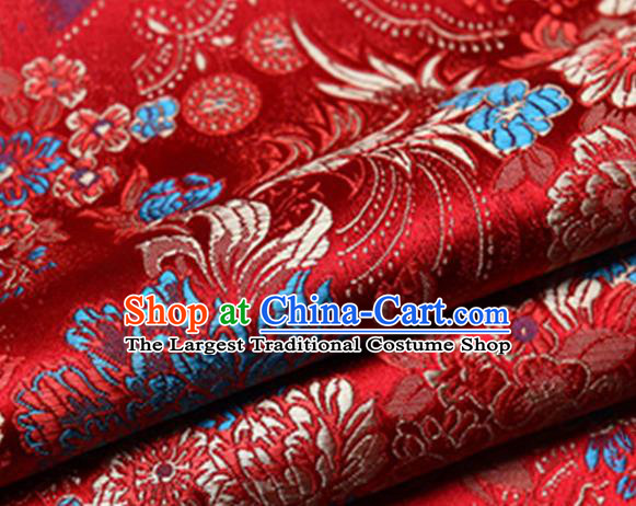 Chinese Traditional Red Silk Fabric Tang Suit Brocade Cloth Cheongsam Material Drapery