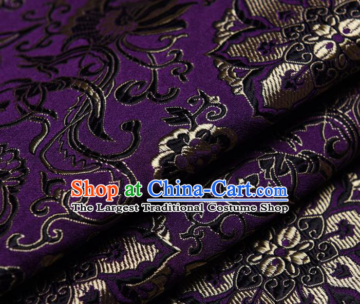 Chinese Traditional Silk Fabric Tang Suit Purple Brocade Cloth Cheongsam Material Drapery