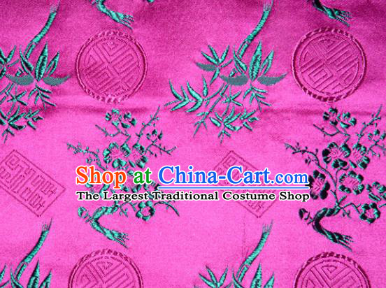Chinese Traditional Silk Fabric Plum Blossom Bamboo Pattern Tang Suit Rosy Brocade Cloth Cheongsam Material Drapery