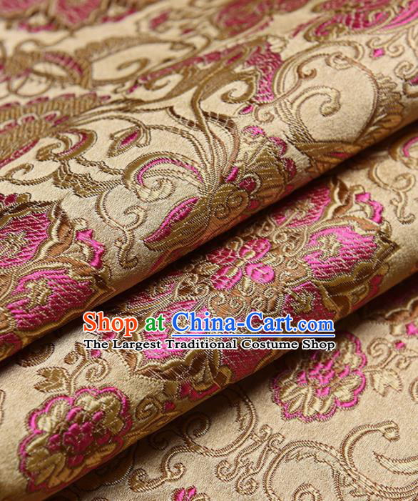 Chinese Traditional Silk Fabric Tang Suit Golden Brocade Cloth Cheongsam Material Drapery