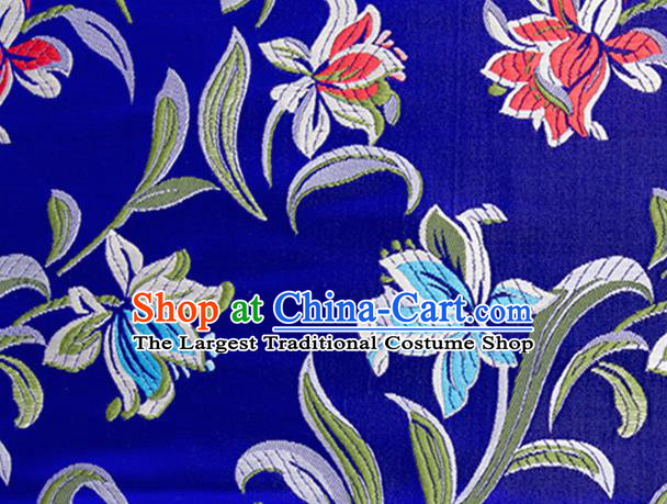 Chinese Traditional Silk Fabric Tang Suit Classical Pattern Royalblue Brocade Cloth Cheongsam Material Drapery