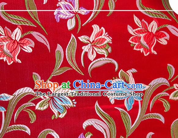 Chinese Traditional Silk Fabric Tang Suit Classical Pattern Red Brocade Cloth Cheongsam Material Drapery