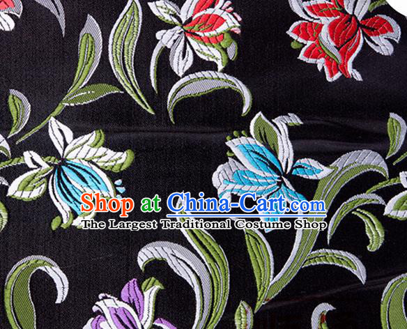 Chinese Traditional Silk Fabric Tang Suit Classical Pattern Black Brocade Cloth Cheongsam Material Drapery