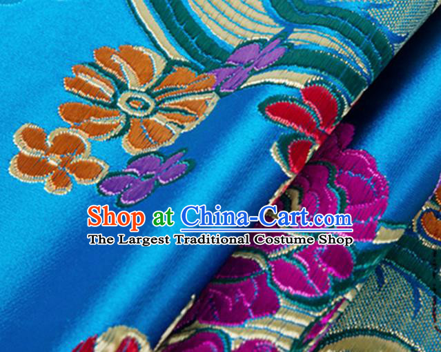 Chinese Traditional Silk Fabric Tang Suit Classical Flowers Pattern Blue Brocade Cloth Cheongsam Material Drapery