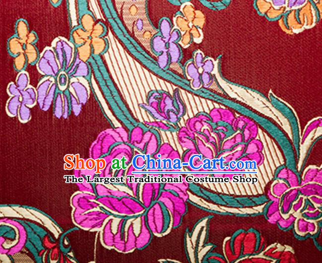 Chinese Traditional Silk Fabric Tang Suit Classical Flowers Pattern Red Brocade Cloth Cheongsam Material Drapery