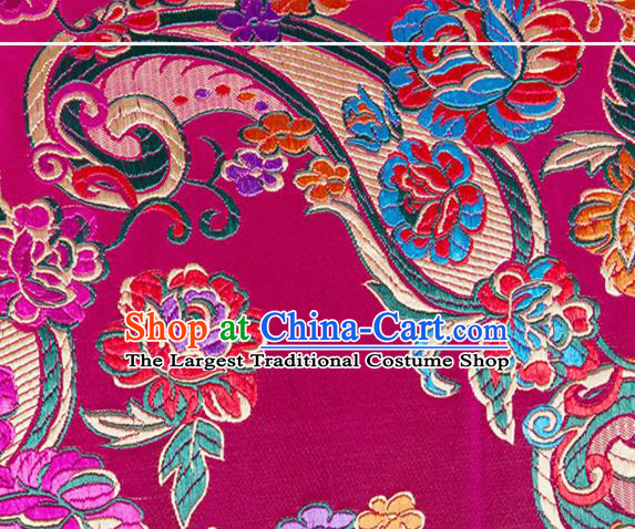 Chinese Traditional Rosy Silk Fabric Tang Suit Classical Flowers Pattern Brocade Cloth Cheongsam Material Drapery