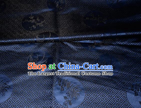 Chinese Traditional Silk Fabric Plum Blossom Orchid Bamboo Chrysanthemum Pattern Tang Suit Navy Brocade Cloth Cheongsam Material Drapery