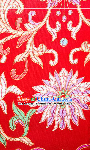 Chinese Traditional Red Brocade Fabric Tang Suit Classical Flowers Pattern Silk Cloth Cheongsam Material Drapery