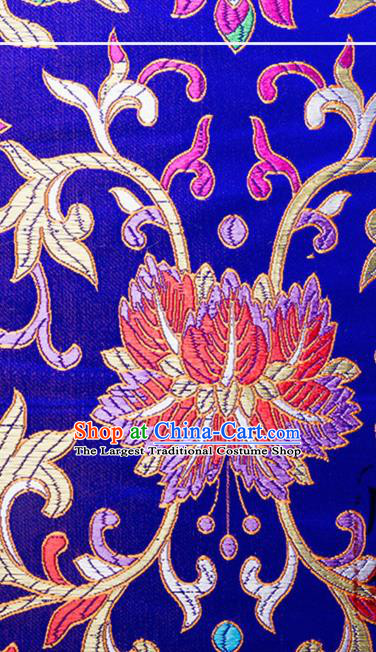 Chinese Traditional Royalblue Brocade Fabric Tang Suit Classical Flowers Pattern Silk Cloth Cheongsam Material Drapery