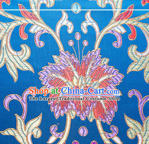 Chinese Traditional Blue Brocade Fabric Tang Suit Classical Flowers Pattern Silk Cloth Cheongsam Material Drapery