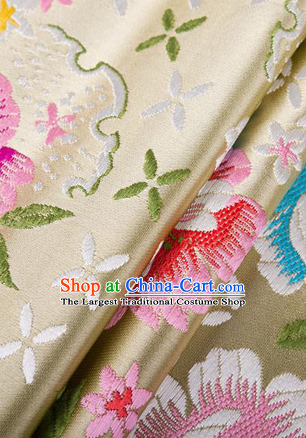 Chinese Traditional Golden Brocade Fabric Tang Suit Silk Cloth Cheongsam Material Drapery